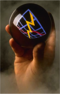 A hand holding a ball with a graph on it
