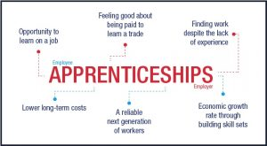 Apprenticeships graphic showing advantages for employee and employer